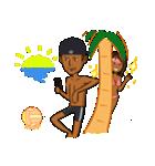 日焼けしたビーチバレーカップル(個別スタンプ:05)