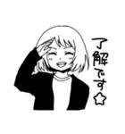 無難に白黒ガール(個別スタンプ:01)