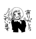 無難に白黒ガール(個別スタンプ:03)