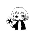 無難に白黒ガール(個別スタンプ:16)