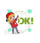 動く!イニシャル「K」/100%広島女子(個別スタンプ:15)