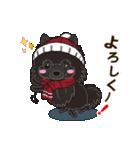 気軽にスタンプ 黒ポメラニアン 冬編(個別スタンプ:05)