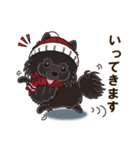 気軽にスタンプ 黒ポメラニアン 冬編(個別スタンプ:09)