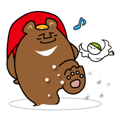 山びとの冬に使えるスタンプ(クマ)