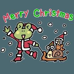 愉快なカエルさんのクリスマススタンプ