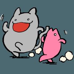 太い猫と友達