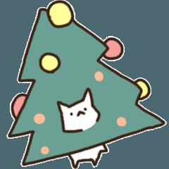 クリスマス白ねこ