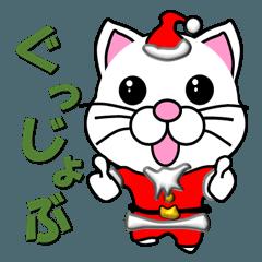 しろ猫のクリスマスサンタクロース