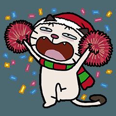 白い脂肪の猫-クリスマス