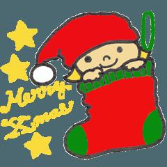 小人とスノーマンのクリスマススタンプ