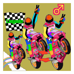 Moto Race Rainbow-colored Riders 3 @02