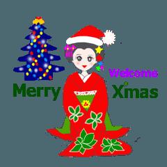 カラフル着物美人 楽しいクリスマス