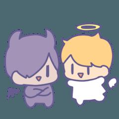 [LINEスタンプ] ちび天使とちび悪魔