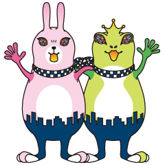 ウサギとカエルの応援団