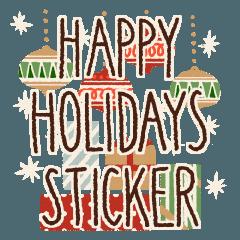 Happy Holidays Sticker:Christmas message