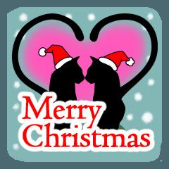 シンプル黒猫☆クリスマス&お正月