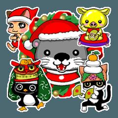 クリスマス&年末年始用小動物スタンプ