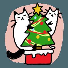 クリスマス用の猫のスタンプ