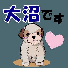 大沼さんが使う名前スタンプ・子犬イラスト