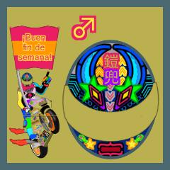 Moto Race Rainbow-colored Riders 461 @02