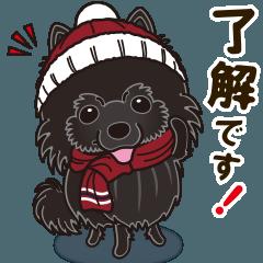 気軽にスタンプ 黒ポメラニアン 冬編