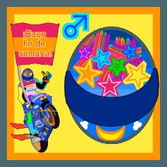 Moto Race Rainbow-colored Riders 84 @02
