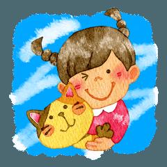 ネコとおさげっこ